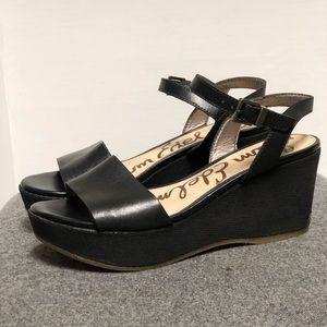 Sam Edelman Black Leather Fabric Platform Sandal 6